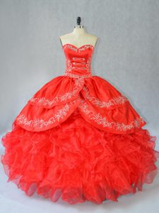 Popular Red Side Zipper Sweet 16 Dress Embroidery and Ruffles Sleeveless Floor Length