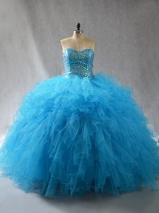 Baby Blue Ball Gowns Beading and Ruffles 15 Quinceanera Dress Lace Up Tulle Sleeveless Floor Length
