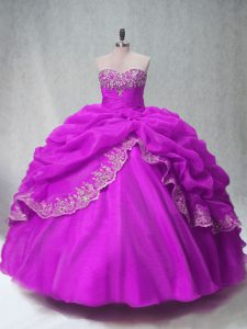 Custom Designed Ball Gowns Vestidos de Quinceanera Fuchsia Sweetheart Organza Sleeveless Floor Length Lace Up
