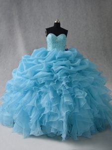 Designer Sweetheart Sleeveless Organza Quince Ball Gowns Beading and Ruffles and Pick Ups Lace Up