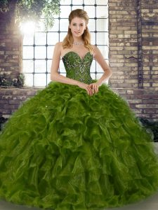 Olive Green Ball Gowns Beading and Ruffles Ball Gown Prom Dress Lace Up Organza Sleeveless Floor Length