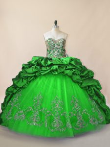 Green Sweetheart Lace Up Beading and Pick Ups Sweet 16 Quinceanera Dress Brush Train Sleeveless