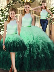 Hot Selling Multi-color Tulle Backless High-neck Sleeveless Floor Length Vestidos de Quinceanera Ruffles