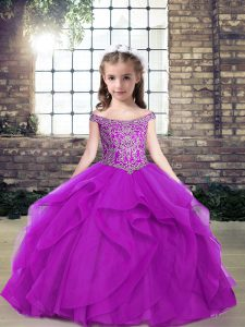 Purple Tulle Lace Up Off The Shoulder Sleeveless Floor Length Pageant Dress for Teens Beading and Ruffles