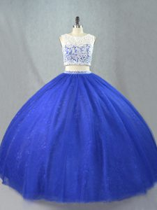 Romantic Royal Blue Two Pieces Scoop Sleeveless Tulle Floor Length Zipper Lace Quince Ball Gowns