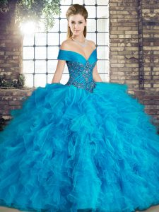 Floor Length Blue Quince Ball Gowns Off The Shoulder Sleeveless Lace Up