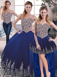 Attractive Royal Blue Sleeveless Floor Length Embroidery Lace Up Sweet 16 Quinceanera Dress