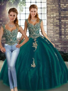 Floor Length Lace Up Quinceanera Dresses Peacock Green for Military Ball and Sweet 16 and Quinceanera with Beading and Appliques