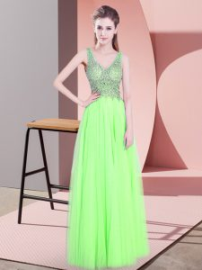 Floor Length Yellow Green Homecoming Dress Tulle Sleeveless Beading
