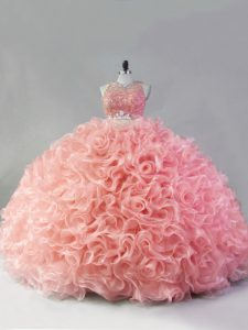 Scoop Sleeveless Quinceanera Dresses Floor Length Beading and Ruffles Pink Fabric With Rolling Flowers