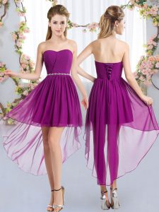 Best Selling Strapless Sleeveless Chiffon Quinceanera Court Dresses Beading Lace Up