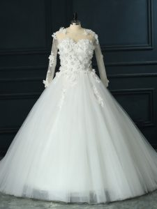 3 4 Length Sleeve Tulle Court Train Lace Up Wedding Gowns in White with Lace and Appliques