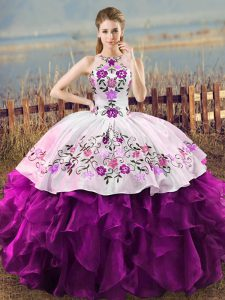 Sophisticated Sleeveless Organza Floor Length Lace Up Sweet 16 Quinceanera Dress in White And Purple with Embroidery and Ruffles