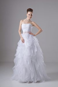 White Sleeveless Beading and Ruffles Floor Length Wedding Dress