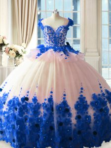 Scoop Sleeveless 15 Quinceanera Dress Brush Train Hand Made Flower Blue And White Tulle
