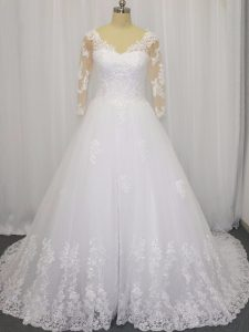 V-neck 3 4 Length Sleeve Tulle Wedding Dresses Beading and Lace Brush Train Zipper