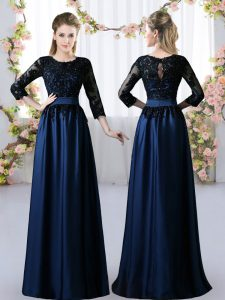 Superior Navy Blue 3 4 Length Sleeve Satin Zipper Dama Dress for Prom and Party and Wedding Party