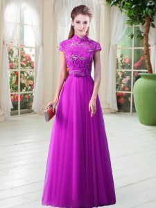 Cap Sleeves Appliques and Belt Lace Up Prom Dress