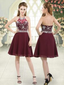Burgundy A-line Chiffon Halter Top Sleeveless Beading Knee Length Zipper Prom Dresses