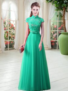 Sexy Green Cap Sleeves Lace Up Prom Dresses for Prom