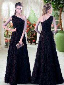 Shining Black Sleeveless Floor Length Appliques Zipper Going Out Dresses