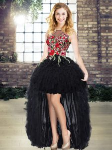 Hot Sale Black Organza Lace Up Scoop Sleeveless High Low Prom Dresses Embroidery and Ruffles