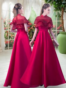 Red Satin Zipper High-neck Short Sleeves Floor Length Evening Dress Lace