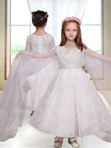 Inexpensive White Long Sleeves Lace Ankle Length Flower Girl Dresses for Less