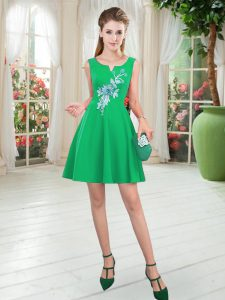 Suitable Green A-line Appliques Dress for Prom Zipper Satin Sleeveless Mini Length