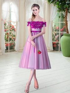 Superior Sleeveless Tulle Tea Length Lace Up Homecoming Dress in Rose Pink with Appliques