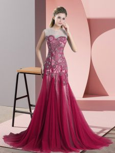 Backless Prom Evening Gown Red for Prom and Party and Military Ball with Beading and Appliques Sweep Train