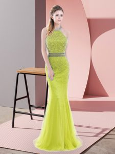 Yellow Green Mermaid Beading Dress for Prom Backless Tulle Sleeveless