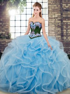 Fine Baby Blue Ball Gowns Embroidery Quince Ball Gowns Lace Up Tulle Sleeveless