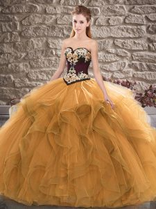 Beading and Embroidery Quinceanera Gown Orange Lace Up Sleeveless Floor Length