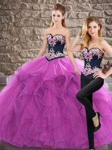 Edgy Purple Vestidos de Quinceanera Sweetheart Sleeveless Sweep Train Lace Up