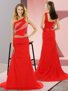Red Sleeveless Sweep Train Beading Prom Dress
