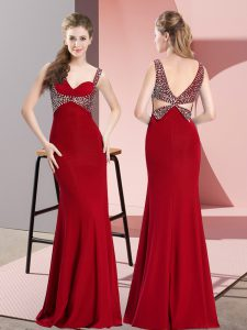 Red Homecoming Dress Prom and Party and Military Ball with Beading Straps Sleeveless Backless