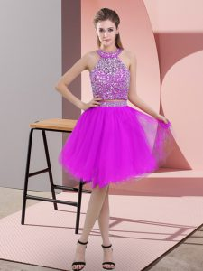 Glittering Purple Two Pieces Halter Top Sleeveless Organza Knee Length Backless Beading Prom Party Dress
