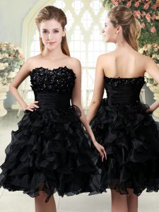 Mini Length A-line Sleeveless Black Dress for Prom Side Zipper