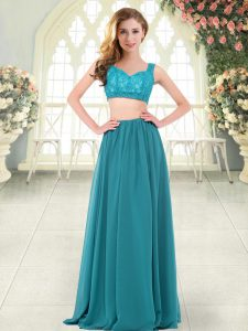 Teal Sleeveless Beading and Lace Floor Length Prom Dress
