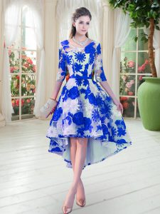 Romantic Half Sleeves Lace High Low Lace Up Prom Gown in Blue And White with Belt