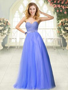 Unique Blue Tulle Zipper Sweetheart Sleeveless Floor Length Prom Dresses Beading