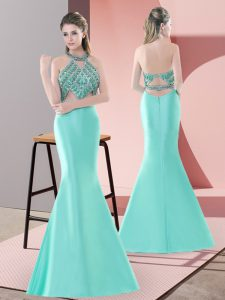 Sumptuous Blue and Apple Green Prom and Party and Military Ball with Beading Halter Top Sleeveless Sweep Train Backless
