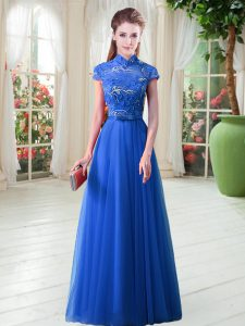 Decent Floor Length Royal Blue Homecoming Dress High-neck Cap Sleeves Lace Up