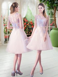 Inexpensive Sleeveless Tulle Knee Length Zipper Homecoming Dress in Champagne with Appliques