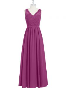 Cute Floor Length Fuchsia Formal Evening Gowns V-neck Sleeveless Backless