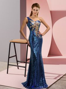 Superior Blue One Shoulder Neckline Beading and Appliques Evening Dress Sleeveless Lace Up