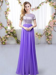 Stunning Empire Dama Dress Lavender Scoop Chiffon Short Sleeves Floor Length Zipper