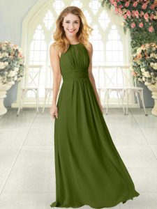 Admirable Sleeveless Chiffon Floor Length Zipper Prom Dress in Olive Green with Ruching