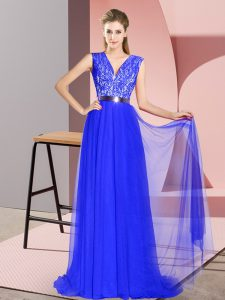 Royal Blue Homecoming Dress Tulle Sweep Train Sleeveless Beading and Lace